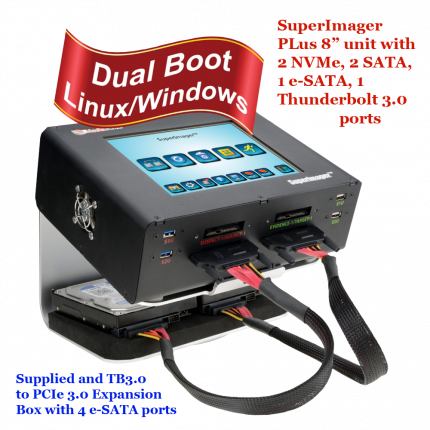 MediaClone SuperImager Plus 8 Inch Portable Forensic Unit with Mixed 2 NVMe Ports and 2 SATA Ports + 4 eSATA Ports