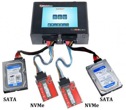 MediaClone SuperWiper 8 Inch 3 NVMe + 7 SATA/SAS Ports Portable Eraser Unit